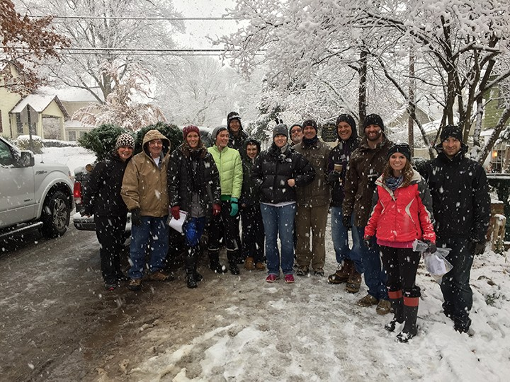 Several volunteers from the Village area volunteered their time to deliver and set up 41 trees. (Submitted photo)