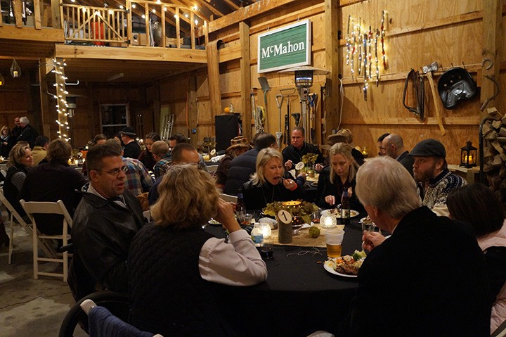 Guests enjoy dinner at the Sam's Wish fundraiser. (Photo by Audrey Bailey)
