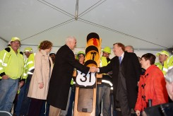 Gov. Mike Pence, left, shakes hands with Carmel Mayor Jim Brainard at a ceremony celebrating the opening of US 31. (Photo by Theresa Skutt)