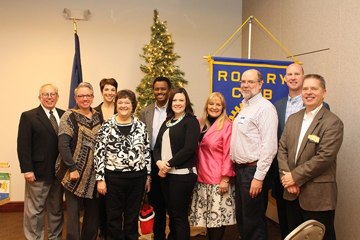 From left, Dick Parks of Fishers Rotary, Kelly Hartman of Outside the Box, Dawn Adams of Food 4 Souls, Linda Williams of Come to Me Food Pantry, Mark Blade of Indiana Rotary, Anna Hudak of Crossroads of American Council, Dori Sparks-Unsworth of Pink Ribbon Connection, Jim McElhinney of Family Promise of Greater Indiana, Jim Wolf of Hamilton Co. Leadership Academy and Gregg Hiland of Fishers Rotary Not-for-Profit Management. (Photo by James Feichtner)
