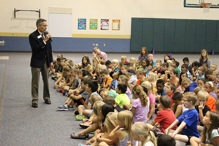 Supt. Dr. Allen Bourff speaks to students during one of his listening tours at local schools. (Submitted photo)