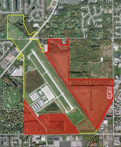 An aerial view of Indy Metro Airport. The areas outlined in red are planned development areas. (Submitted map)