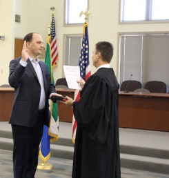 Fishers Mayor Scott Fadness swears in for his second term. ( Photo by James Feichtner)