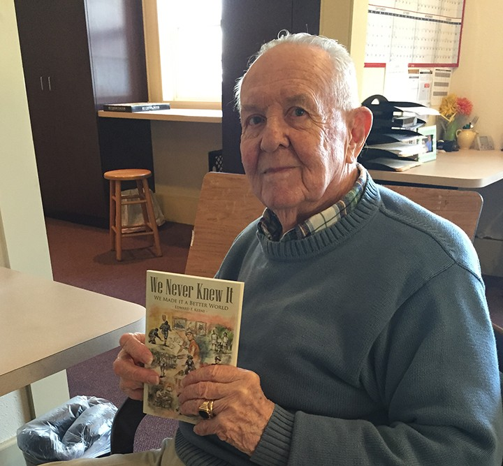 """Westfield resident Edward Keene, 87, just published his auto- biography """"We Never Knew It."""" (Photo by Anna Skinner)"""