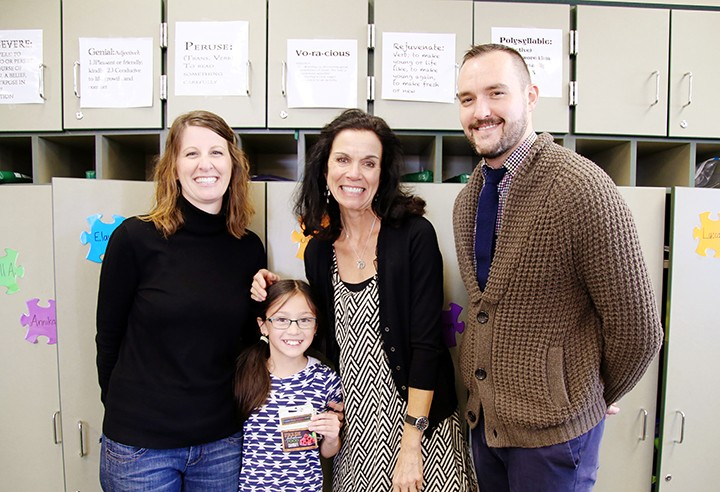 From left, co-teacher Jen Skura, student Lily Lovell, co- teacher Muff Biber and Market District's Jason Riley. (Photo by Feel Good Now)