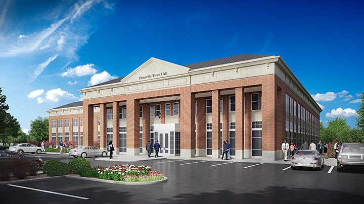 A rendering of the proposed Town Hall. (Submitted rendering)