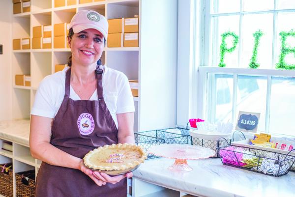 Kelly Maucere displays an award-winning Hoosier Sugar Cream Pie. (File photo)