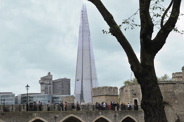 The Shard from the Tower of London. (Photo by Don Knebel)