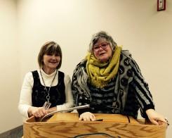 From left, CHS German teacher Angelika Becker and German author Jutta Richter. (Photo by Mark Ambrogi)