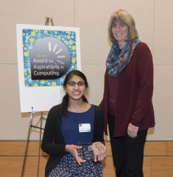 Gayatri Balasubramanian, left, receives her award from Maureen Biggers, NCWIT leadership and committee chair for Indiana Aspirations in Computing. (Submitted photo)