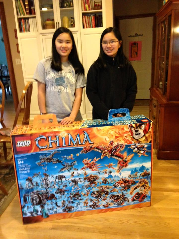 Chelsea, left, and Kendall Tinsley are winners in the Lego Chima Big Box Contest. (Submitted photo)