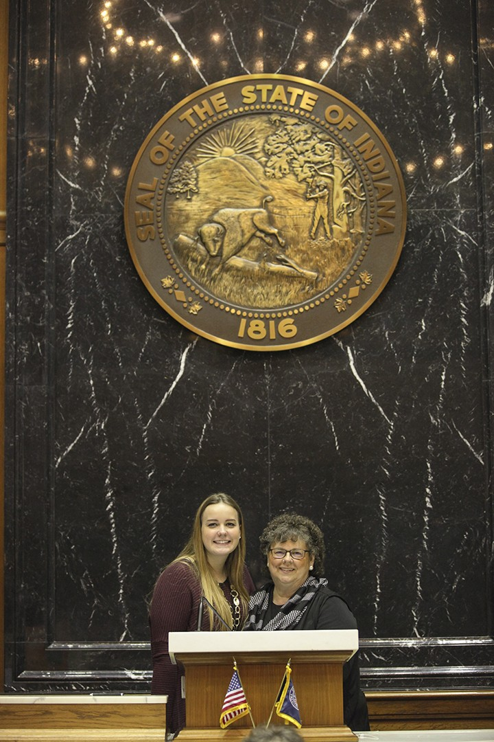 Emma Swain with Rep. Kathy Richardson (R-noblesville) (Submitted photo)