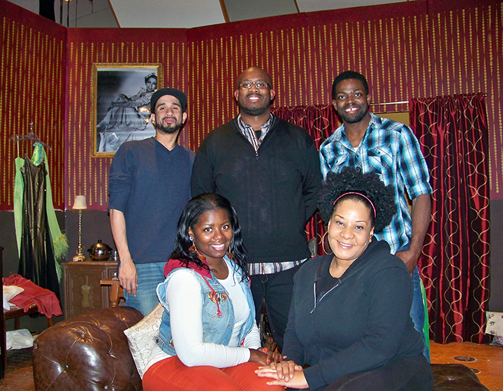 """The cast for the upcoming Spotlight Players production of """"Blues for an Alabama Sky"""" includes, seated from left, Alicia Collins and Gabrielle Patterson; and, standing from left, Phillip Armstrong, Ennis Adams Jr. and Onis Dean. (Photo by Sam Elliott)"""