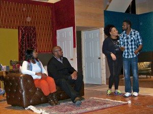 """From left, Alicia Collins, Ennis Adams Jr., Gabrielle Patterson and Onis Dean rehearse a scene from """"Blues for an Alabama Sky."""" (Photos by Sam Elliott)"""
