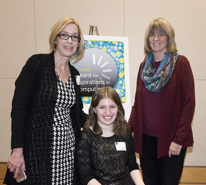 From left, WHS computer science teacher Karen Podell, Samantha Fassnacht and Maureen Biggers, NCWIT leadership team and committee chair for Indiana Aspirations in Computing. (Submitted photo)