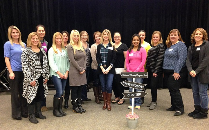 From left, Ellicia McMillen, Deirdra Rinne, Gretchen Wettschurack, Sarah Watkins, Cathy Gregory, Jen Aslin, Heather Lamb, Cindy Bishop, Christi Luedke, Kristy Unton, Sandy Rhodes, Laura Wolf, Shannon Heitz, Michelle Paterson and Teresa Gift at the formation meeting for National Charity League held on Feb. 2. (Submitted photo)