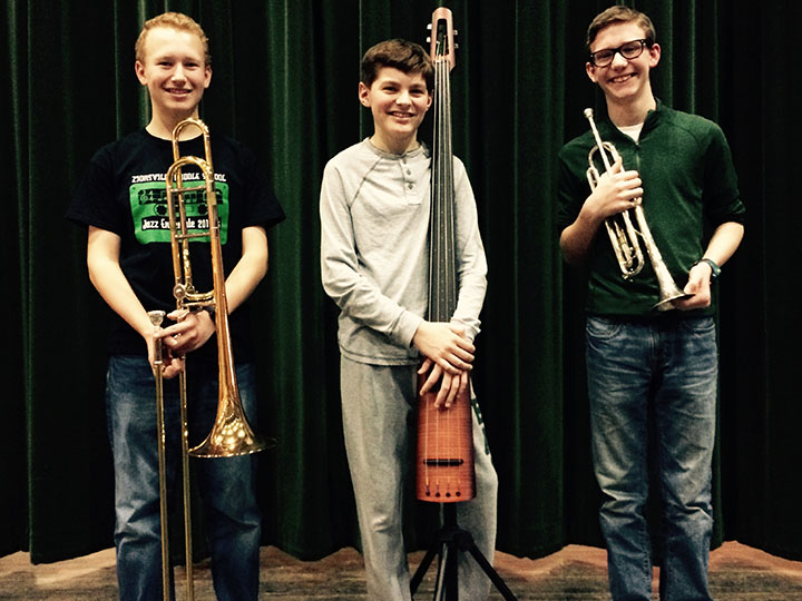 From left, ZMS students Ethan Perry (trombone), Cody Bevelhimer (electric string bass) and Wesley Turnbull (trumpet) were members of the Junior All-State Band. (photo by Mark Ambrogi)