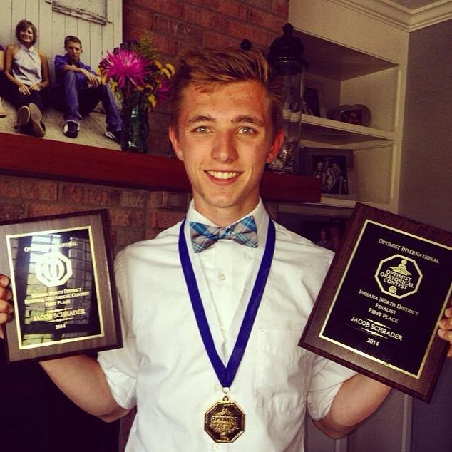 Jacob Schrader, a 2014 graduate of Zionsville Community High School, was a gold winner at the Zionsville Optimist Club's 2014 oratorical contest and went on to place first at the Indiana North District and Regional competitions. (submitted photo)