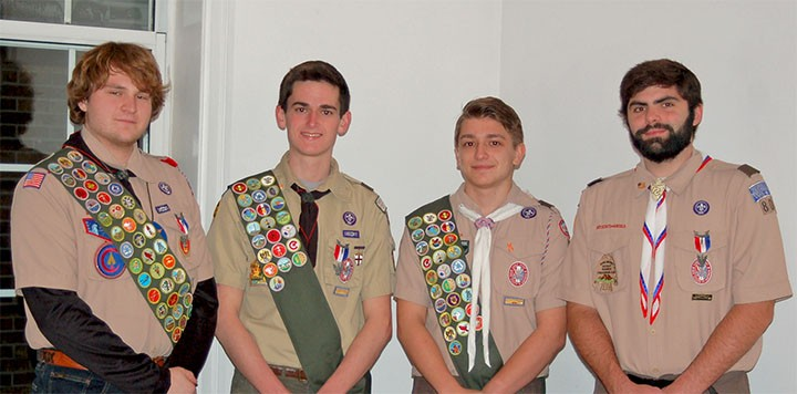From left, Aidan Washer, Danny Perkins, Zach Hoyes and Matt Munley are among the newest Eagle Scouts from Troop 804. Grant Cawi, not pictured, also attained the rank in 2015. (submitted photo)