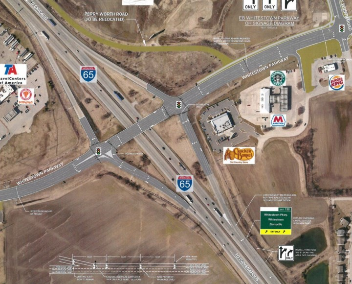 Whitestown and INDOT are working together to reconfigure the interchange at I-65 and Whitestown Parkway. (submitted rendering)