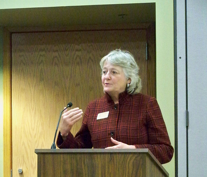 HSE Assistant Supt. Dr. Jan Combs addresses the school board during its Feb. 24 meeting, at which she said the technology department will be recommending a reduction to technology fees for iPad and laptop rentals next school year. (Photo by Sam Elliott)