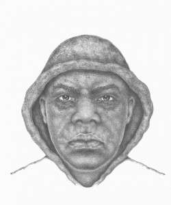 After working with witnesses, an IMPD artist drew this composite sketch of one of the suspects in the latest robbery at Lawrence's KEMBA Credit Union. (Submitted photo)