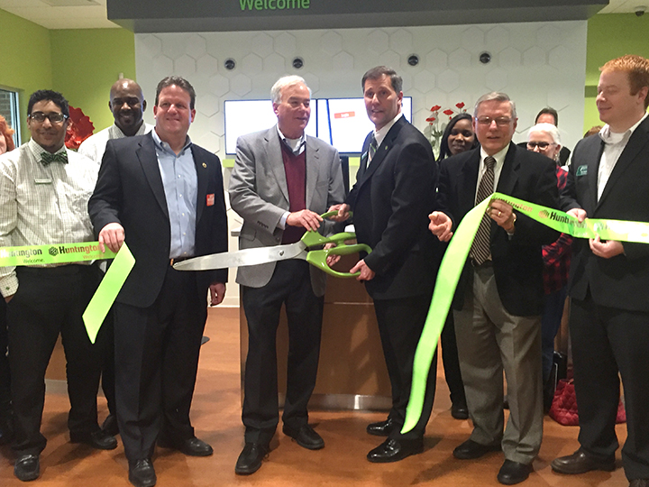 On March 4, Huntington Bank, 14921 N. Meridian St., held a grand opening and ribbon cutting. From left, Banker Paul Gonzalez, Teller Manager Richard Riley, County Commissioner Mark Heirbrandt, Mayor Andy Cook, Branch Area Manager Kevin Gross, Jim Ake and Tom Dooley. (Photo by Anna Skinner)