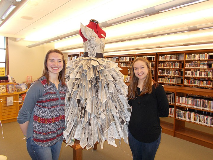 Sarah Niehaus and Dana Johnson created a dress made out of recycled newspaper. (Photo by Donna Monday)