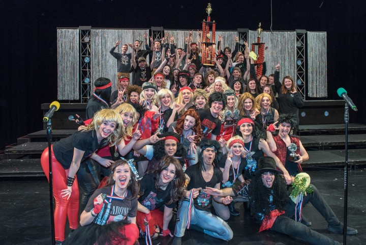 Members of the ZCHS show choirs celebrate top finishes at the Xtreme Choir Showdown in Lafayette. (Photo by Scott Clark)