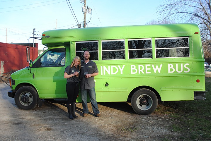 Megan, left, and Andy Bulla of Zionsville are the owners of Indy Brew Bus. (Photo by Anna Skinner)