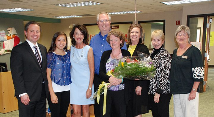 Woodbrook Elementary teacher Janet Vahle, center, was named the Carmel Clay Schools teacher of the year. (Submitted photo)