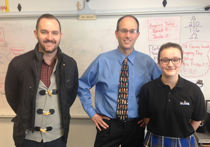 Market District's Jason Riley presented a gift card to St. Simon the Apostle seventh and eighth grade teacher Craig Gibson and brought a pizza party to the class after Gibson was nominated for Teacher of the Month by student Jackie Gantz.
