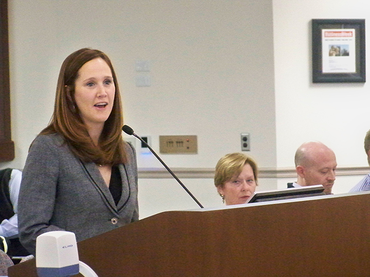 Fishers Deputy Mayor Leah McGrath presents the draft of the Fishers 2040 comprehensive plan to the plan commission April 12. (Photo by Sam Elliott)