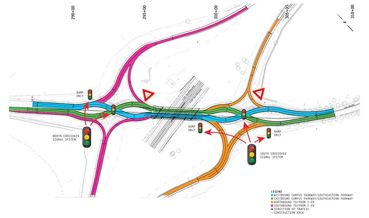 The Campus Parkway )Exit 210) interchange with I-69 will feature a double-crossover diamond configuration to help improve traffic flow. (Submitted map)