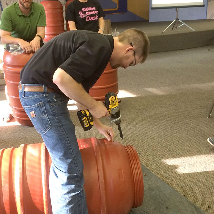 Zionsville stormwater project manager Gavin Merriman works on a rain barrel at the 2015 workshop. (Submitted photo)
