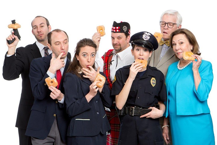 """The cast of """"Unnecessary Farce,"""" from left: Scott Russell, Scot Greenwell, Leah Brenner, Roger Ortman, Jenny Reber, Ken Klingenmeier, Vickie Cornelius Phipps. (Submitted photo)"""