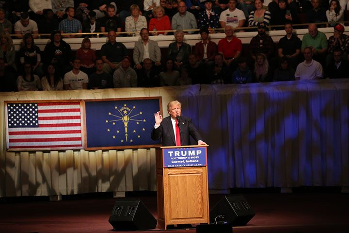 Trump on stage at the Palladium. (Photo by Ann Marie Shambaugh)