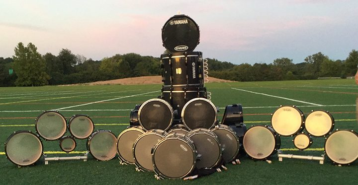 A drumline tradition includes building a tower with drums after each competition. (Submitted photo)