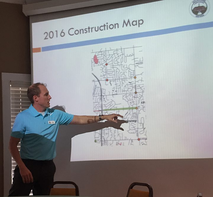 Jeremy Kashman, city engineer, presents the plans over the next couple years for the northeast part of Carmel. (Photo by Anna Skinner)