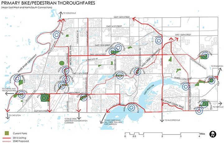 This map shows the city's current and proposed future bicycle and pedestrian paths connecting Fishers' parks and resources. (Submitted map)