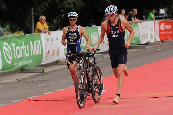 Dylan Sorensen, right, competes in a triathlon at the Estonia European Cup in July 2015. (Submitted photo)