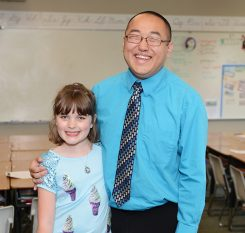 Lillian Heibult nominated Nate Truitt as the Teacher of the Month. (Photo by Theresa Skutt)