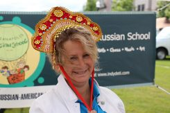 Natalia Rekhter, executive director at the Russian School, last year at the Carmel Farmers Market's heritage day. (File photo)
