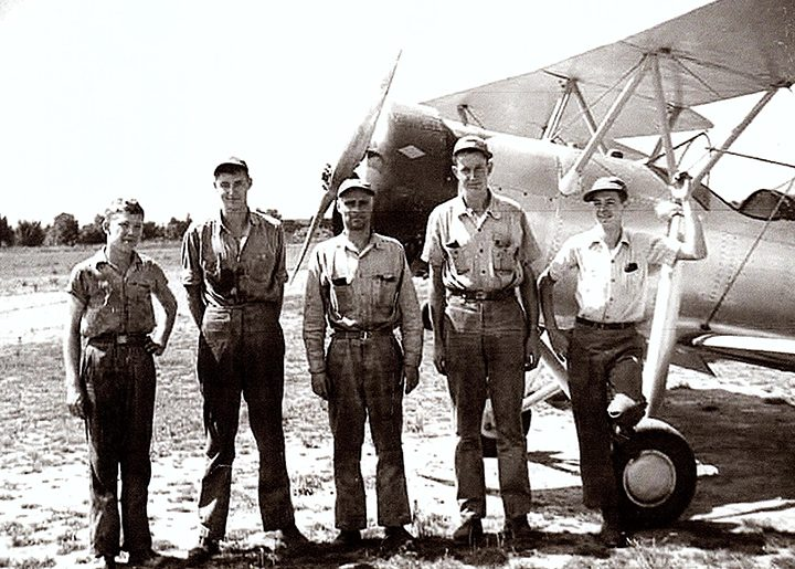 A 16-year-old Louis Owen, right, was a mechanic for World War II training planes in Clarksville, Tenn. (Submitted photos)