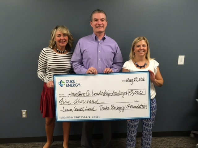 From left: Robyn Eaton of Herman and Kittle Properties, Mark LaBarr of Duke Energy and Jill Doyle, Executive director of the Hamilton County Leadership Academy. (Submitted photo)