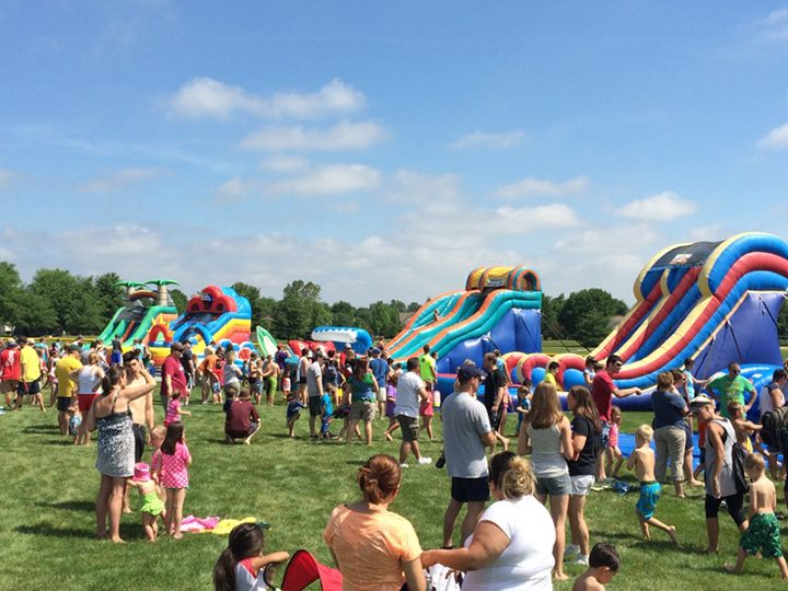 Seven giant inflatable water slides will be set up at Roy G. Holland Memorial Park for this year's Monsoon Madness event June 18. (Submitted photos)