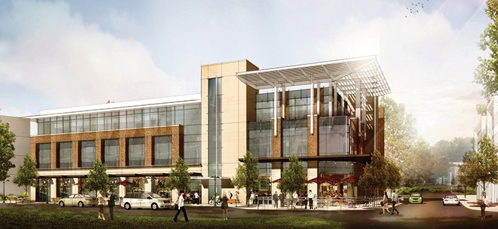 A new corporate headquarters for consulting engineer and architecture firm RQAW in a three-story, 30,000-square-foot building will be one feature of the three-part North of North project approved for the northwest corner of North Street and Lantern Road. (Submitted rendering)