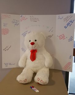 A card and teddy bear are available in the Whitestown Municipal Complex for members of the community to sign. They will be delivered to Sgt. Dan Boutwell June 20. (Submitted photo)