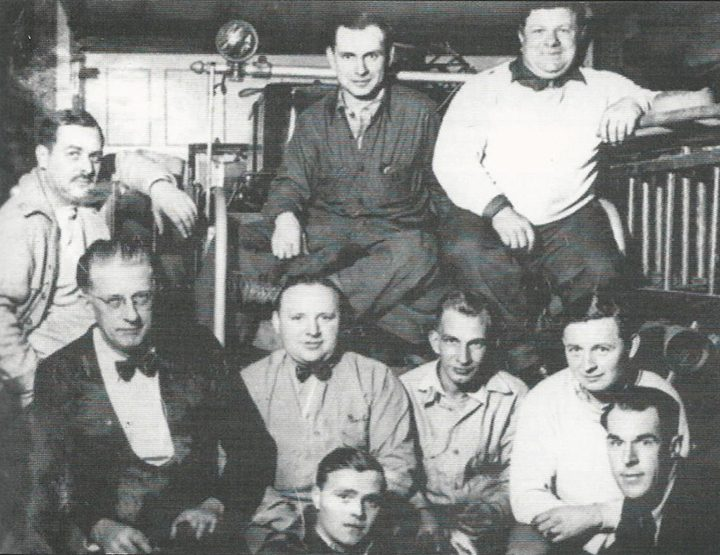 Zionsville Volunteer Fire Department members circa 1937 included, front row from left, Lloyd Robey and Maynard Moore, second row, Fire Chief Bernard Clayton, Earl Smith, Jake McClellan and Aubry Davidson, and back row, Al Starkey, Gerald Higbee and Roy Eck. (Photo courtesy of Sullivan/Munce Cultural Center)