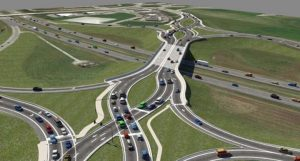 The redesigned Campus/Southeastern Parkway interchange with I-69 at Exit 210 will shift traffic into a double crossover diamond configuration once completed. (Submitted rendering)